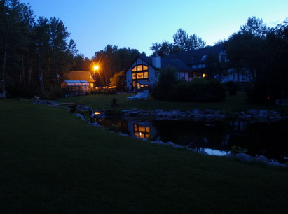 house pond at night